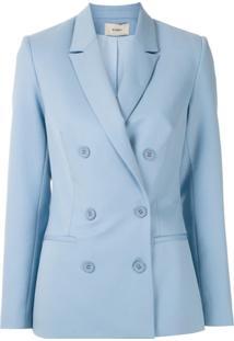 Egrey Blazer De Lã Abotoamento Duplo - Azul