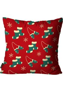 Capa Para Almofada Mdecore Natal Meia Vermelha 45X45Cm