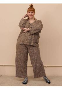 Pijama Clássico Gal Plus Size Marrom-G Marrom