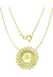 Gargantilha Prata Mil Mã£E C/ Zircã´Nia Folheado Em Ouro Dourado - Dourado - Feminino - Dafiti