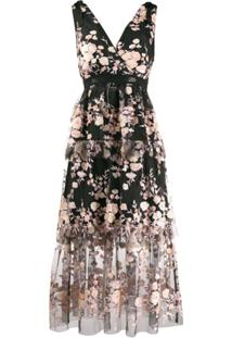 Self-Portrait Embroidered Evening Dress - Preto