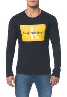 Camiseta Ckj Ml Est Quadrado Logo - Preto - G