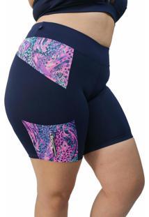 Bermuda Corpusfit Com Bolso E Zíper Plus Size- Azul Marinho Com Onça Rosa/ Azul