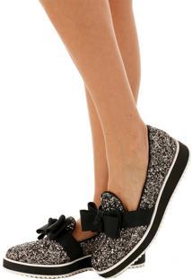 Sapato Laço Glitter Dourado