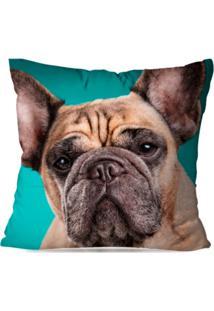 Capa De Almofada Decorativa Bulldog Verde 35X35Cm