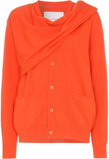 Pushbutton Cardigan Com Transpasse - Laranja