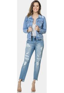 Jaqueta Jeans Bolso Interno Celular Jeans - Lez A Lez