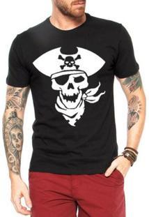 Camiseta Criativa Urbana Caveira Pirata2 - Masculino-Preto