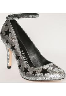 Sapato Tradicional Em Couro Metalizado Estrelas- Prateadcarmen Steffens