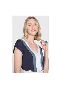 Blusa Marialícia Color Block Azul-Marinho