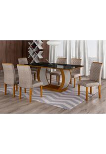 Conjunto De Mesa De Jantar Com Vidro E 6 Cadeiras Maia Ii Suede Amassado Imbuia E Chocolate