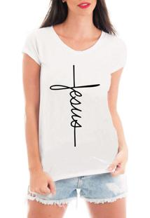 Camiseta Feminina Jesus Cristã Evangélica Gospel Religiosa Branca