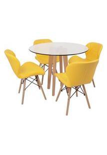 Conjunto Mesa De Jantar Em Vidro 90Cm Com Base Vértice + 4 Cadeiras Slim - Amarelo