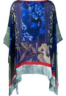 Etro Blusa Poncho Floral - Azul