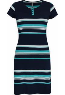 Vestido Pau A Pique Listrado Azul Marinho E Turquesa