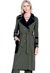 Casaco Trench Coat Garnús Bicolor Verde