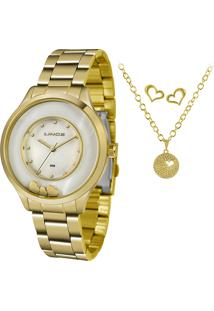 Kit De Relógio Analógico Lince Feminino + Brinco + Colar - Lrg4605L Kw12B1Kx Dourado - Único