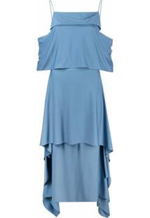 Salvatore Ferragamo Vestido Decote Quadrado Com Recorte Drapeado - Azul