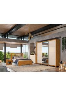 Dormitório Kelly C/ Espelho Nature Off White Madeirado Robel Móveis