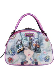 Bolsa Nicole Lee New York Print Bowler Rosa
