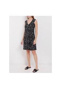 Vestido Curto Estampado Feminino Preto