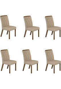 Conjunto Com 6 Cadeiras Esmeralda Ipê E Veludo Palha