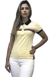 Camisa Pólo Hifen Listrada Amarelo