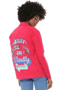 Jaqueta Sarja Triton Estampada Pink