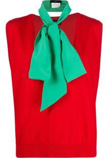Jejia Blusa Maglia Com Gola V Profundo De Tricô - Vermelho