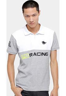 Camisa Polo Rg 518 Piquet Bicolor Racing Masculina - Masculino-Branco