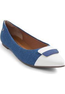 Sapatilha Bico Fino Metal Bicolor Azul