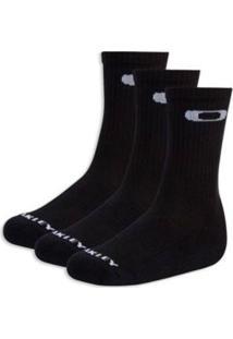 Meia Oakley Crew Sock 3 Masculino - Masculino-Preto