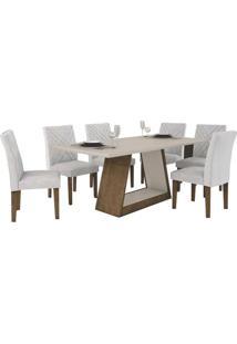 Mesa De Jantar Gênova 180Cm Quina Reta Com 6 Cadeiras Ypê - Off White / Pena Palha