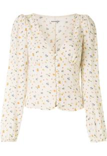 Reformation Nell Floral-Print Blouse - Branco