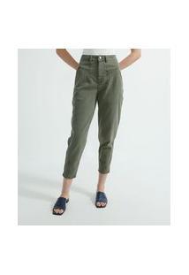 Calça Slouchy Em Sarja Com Recortes | Marfinno | Verde | 46