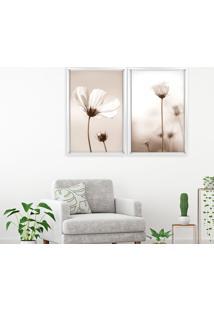 Quadro Com Moldura Chanfrada Flor Classica Branco - Mã©Dio - Multicolorido - Dafiti