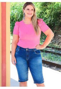 Bermuda Barra Botões Almaria Plus Size Fact Jeans