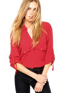 Camisa Manga Longa Forum Texturizada Vermelha