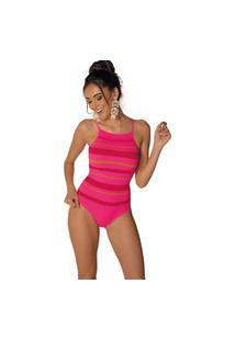 Body Canelado Listrado Ultraleve Demillus 98233 Pink Neon