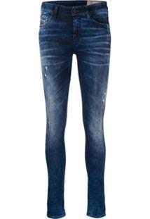 Diesel Calça Jeans Slim Com Efeito Desbotado - Azul