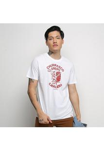 Camiseta Cavalera T Shirt Churrasco Grego Masculina - Masculino-Branco