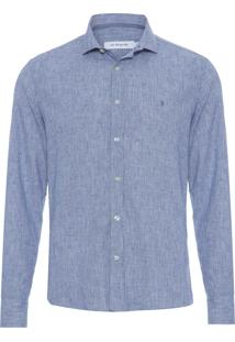 Camisa Masculina Resort Cotton Linen - Azul