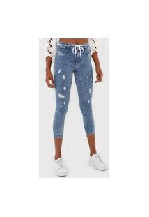Calça Cropped Jeans Sawary Skinny Destroyed Azul