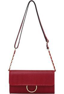 Bolsa Transversal Smartbag Vaqueta Ondas - Feminino-Vermelho