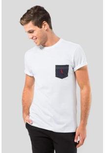 Camiseta Malha Variada Bolso 577 Bordado Reserva Masculina - Masculino-Branco
