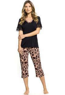 Pijama Inspirate Capri Animal Print Preto