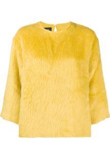Rochas Blusa De Moletom Decote Arredondado De Seda - Amarelo