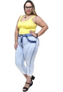 Calça Jeans Feminina Latitude Plus Size Cropped Jacy - Feminino-Azul