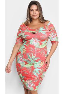 Vestido Lecimar Curto Plus Size Floral - Feminino-Vermelho