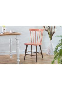 Cadeira De Madeira Maciça Folk Verniz Capuccino E Rosa Coral 45X46X83Cm